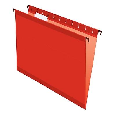 Pendaflex® SureHook® Reinforced Hanging File Folders, 5 Tab Positions, Letter Size, Red, 20/Box (6152 1/5 RED)