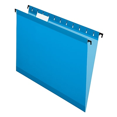 Pendaflex® SureHook® Reinforced Hanging File Folders, 5 Tab Positions, Letter Size, Blue, 20/Box (6152 1/5 BLU)
