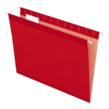 Pendaflex® Reinforced Hanging File Folders, 5 Tab Positions, Letter Size, Red, 25/Box (4152 1/5 RED)
