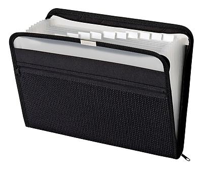 Pendaflex® 13 Pocket Expanding Zip Fabric File, Black, Letter Size