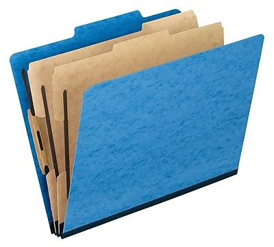 Oxford Six-Section Colored PressGuard Classification Folders, Light Blue, 10/Box