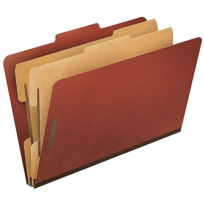 Oxford Six-Section Colored PressGuard Classification Folders, Legal Size, Red, 10/Box