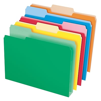 Pendaflex® Double Stuff® File Folders, Letter Size, 3 Tab, Assorted Colors, 50/Box (54460)