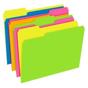 Pendaflex® Glow Twisted 3-Tab File Folder, Letter Size, Multicolor, 12/Pack (40526)