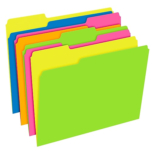 Pendaflex® Glow Twisted 3-Tab File Folder, Letter Size, Multicolor, 12/Pack (40526)