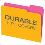 Pendaflex® Glow Twisted File Folders, Letter Size, 3 Tab, Assorted Colors, 12/Pack (40526)