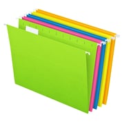 Pendaflex® Essentials™ Glow Hanging File Folders, 5 Tab Positions, Letter Size, Assorted Glow Colors, 25/Box (81672)