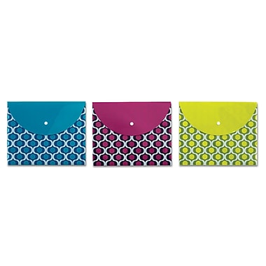 Pendaflex® Poly Snap Envelope, Flat, Letter, Assorted Geo Prints (41413)