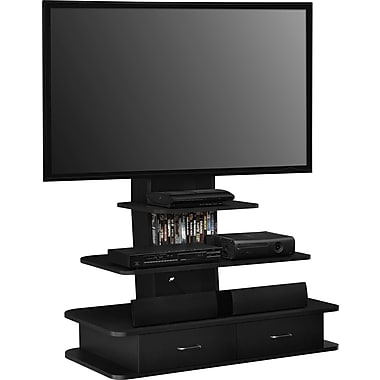 Dorel Galaxy TV Stand with Mount & Drawers, Black