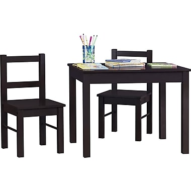 Dorel Hazel Kid's Wood Table and Chairs Set, Espresso