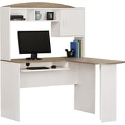 Dorel Walbash L-Shaped Desk with hutch, White & Sonoma Oak