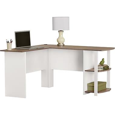 Dorel L-Shaped Desk with Side Storage, White & Sonoma Oak