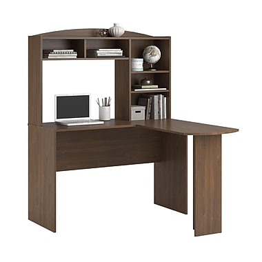 Dorel Sutton L-Shaped Desk with Hutch, Brown Walnut