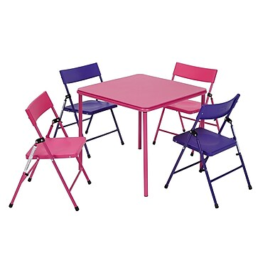 Cosco – Ensemble table et chaises pliantes pour enfants, 5 pièces, rose/violet