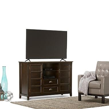 Simpli Home Burlington Tall Wooden TV Stand, Espresso Brown