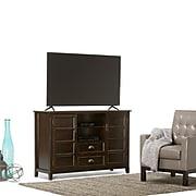 Simpli Home Burlington Tall Wooden TV Stand; Espresso Brown