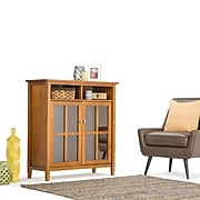 Simpli Home Artisan Solid Wood Medium Storage Cabinet, Dark Honey Brown