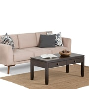 "Simpli Home Cosmopolitan 18 1/2""H x 42""W x 20""L Solid Wood Coffee Table; Coffee Brown"