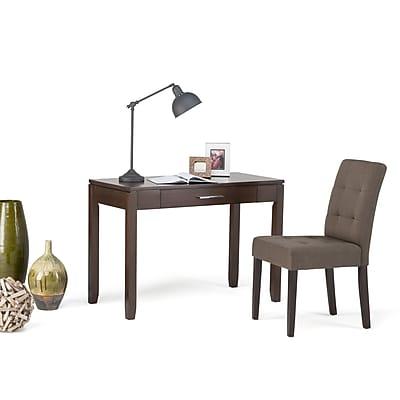 Simpli Home Cosmopolitan Solid Wood Writing Office Desk; Auburn Brown