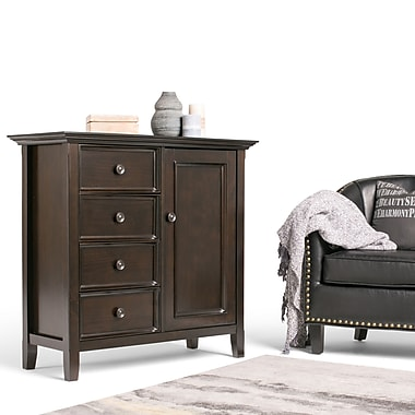 Simpli Home Amherst Solid Wood Medium Storage Cabinet and Buffet, Dark American Brown