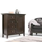 Simpli Home Amherst Solid Wood Medium Storage Cabinet and Buffet, Dark American Brown