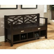 Simpli Home Sea Mills Soild Wood Entryway Storage Bench, Espresso Brown