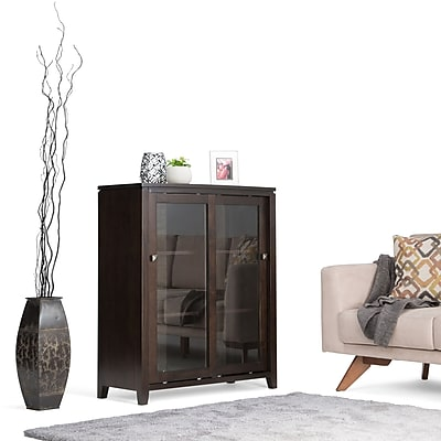 Simpli Home Cosmopolitan Solid Wood Medium Storage Cabinet, Coffee Brown