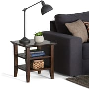 "Simpli Home Acadian 20""H x 19""W x 19""L Solid Wood End Table; Tobacco Brown"
