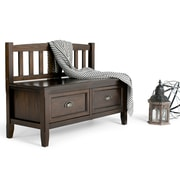 Simpli Home Burlington Soild Wood Entryway Storage Bench; Espresso Brown