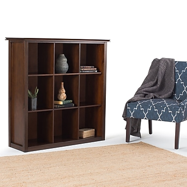 Simpli Home Artisan 9 Cube Storage Bookcase Medium Auburn Brown