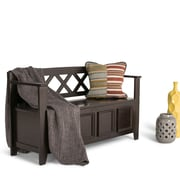 Simpli Home Amherst Soild Wood Entryway Storage Bench; Dark American Brown
