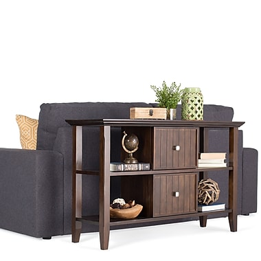 Simpli Home Acadian Wood/Veneer Console Table, Brown, Each (AXWELL3002)