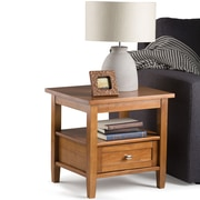 "Simpli Home Warm Shaker 19 1/2""H x 20""W x 18""L Solid Wood End Table; Honey Brown"