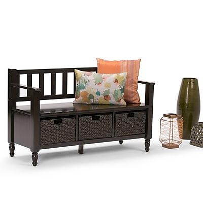 Simpli Home Dakota Soild Wood Entryway Storage Bench; Dark Exeter Brown