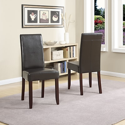 Simpli Home Acadian Set of 2 Faux Leather Parsons Chair; Brown, 2/Set