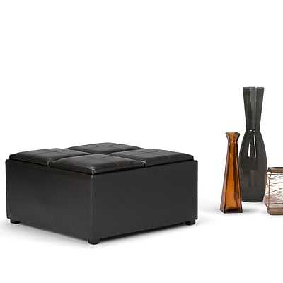 Simpli Home Avalon Faux Leather Coffee Table Storage Ottoman; Brown