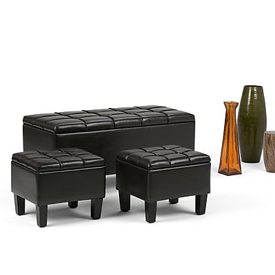 Simpli Home Dover 3 Piece Faux Leather Storage Ottoman, Brown
