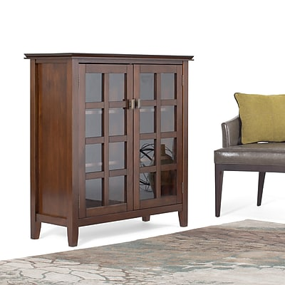Simpli Home Artisan Solid Wood Medium Storage Media Cabinet and Buffet, Dark Medium Auburn