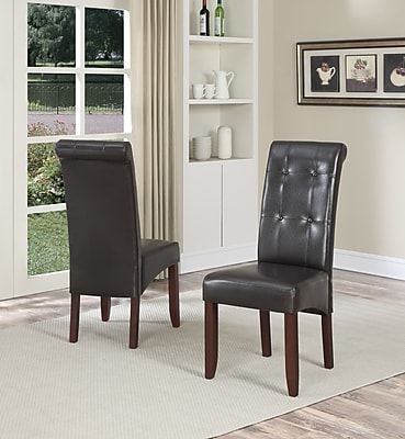 Simpli Home Cosmopolitan Tufted Faux Leather Deluxe Parsons Chair, Brown, 2/Set