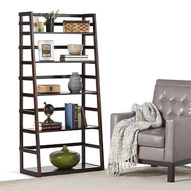 Simpli Home Acadian Wooden Ladder Shelf, Dark Tobacco Brown