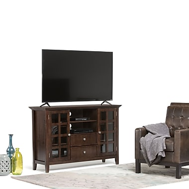 Simpli Home Acadian Tall Wooden TV Stand, Dark Tobacco Brown