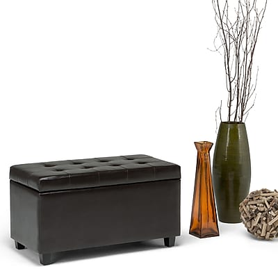 Simpli Home Cosmopolitan Medium Faux Leather Storage Ottoman, Brown
