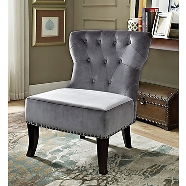 Simpli Home Fabric Slipper Chair, Gray (AXCKITS73O5G)