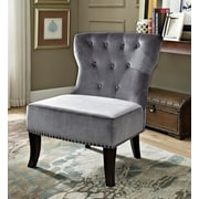 Simpli Home Fabric Slipper Chair, Gray (AXCKITS73O5G)