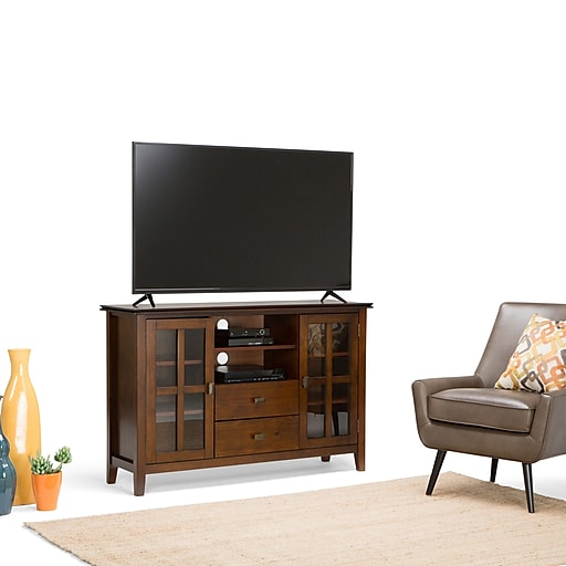 Simpli Home Artisan Wooden TV Stand; Medium Auburn Brown