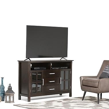 Simpli Home Kitchener Wooden TV Stand, Dark Walnut Brown
