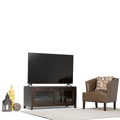 Simpli Home Cosmopolitan Wooden TV Stand; Coffee Brown