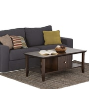 "Simpli Home Acadian 18 1/2""H x 47 1/2""W x 24""L Solid Wood Coffee Table; Tobacco Brown"