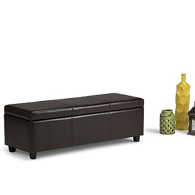 Simpli Home Avalon Large Faux Leather Storage Ottoman, Brown