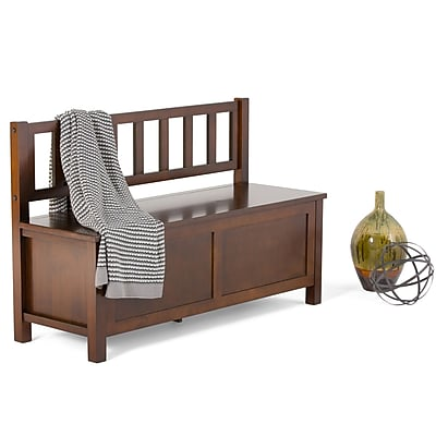Simpli Home Artisan Soild Wood Entryway Storage Bench, Medium Auburn Brown